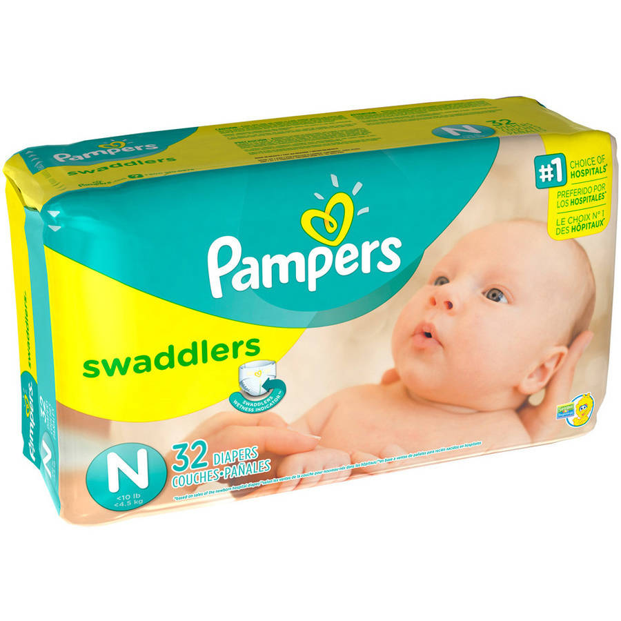Pampers Swaddlers Diapers, Size Newborn, 32 Diapers