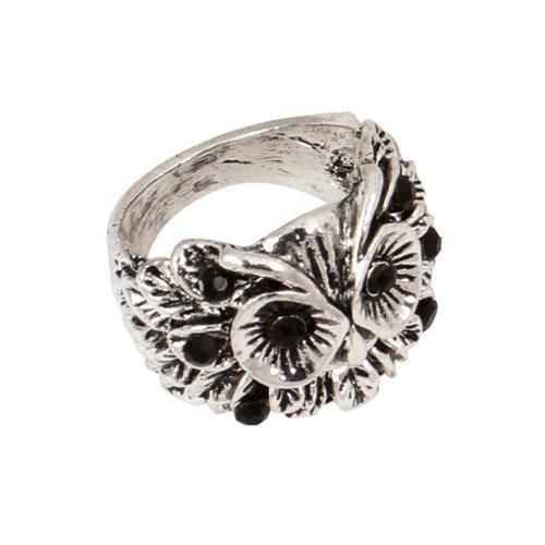 BMC Owl Head Design Black Rhinestones Silver Metal Finger Knuckle Ring - Size 7