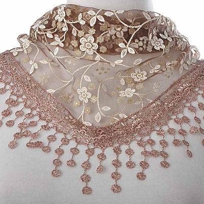 Women Fashion Triangle Wrap Lady Shawl Lace Sheer Floral Print Scarf Scarves