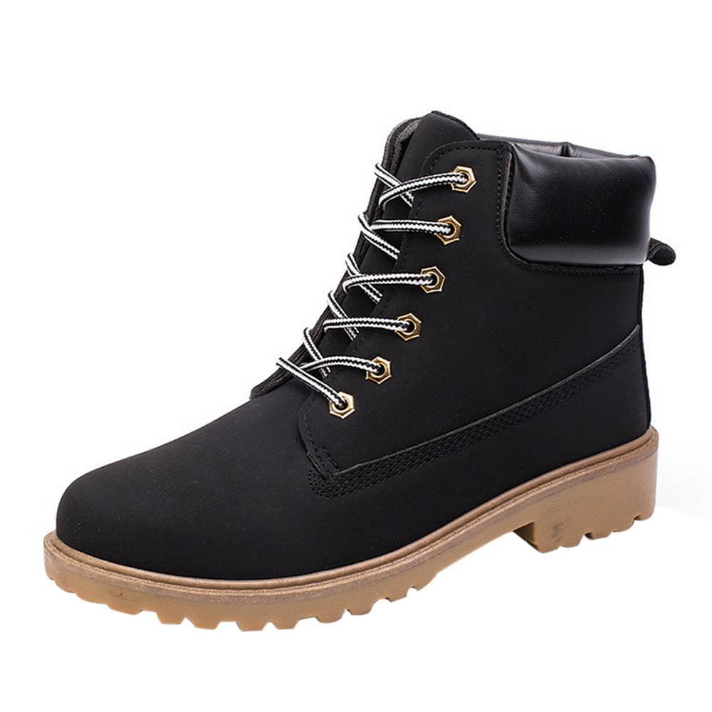 DZT1968® Men Ankle Boots Fur Lined Winter Autumn Warm Martin Boots Shoes