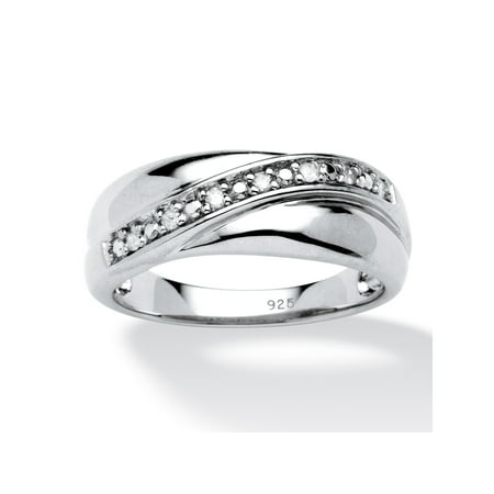 Men's 1/10 TCW Round Diamond Wedding Band in Platinum over Sterling Silver Vintage Platinum Mens Bands