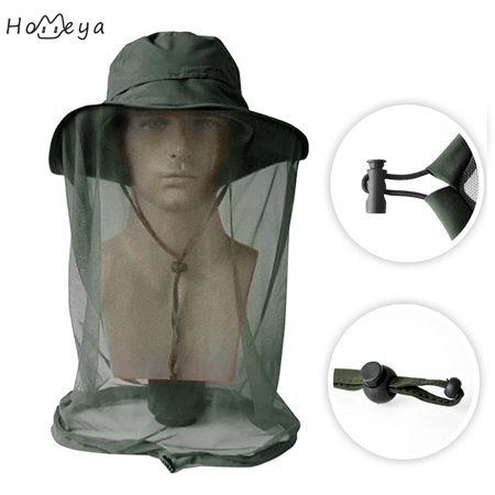 Face Nut - Mesh Head Face Protector Mask Hat,homeya Insect Bee Mosquito Bug Anti-mosquito Net Resistance Sunhat Safari Hat without UV Protection for Travel Camping Pasture Green