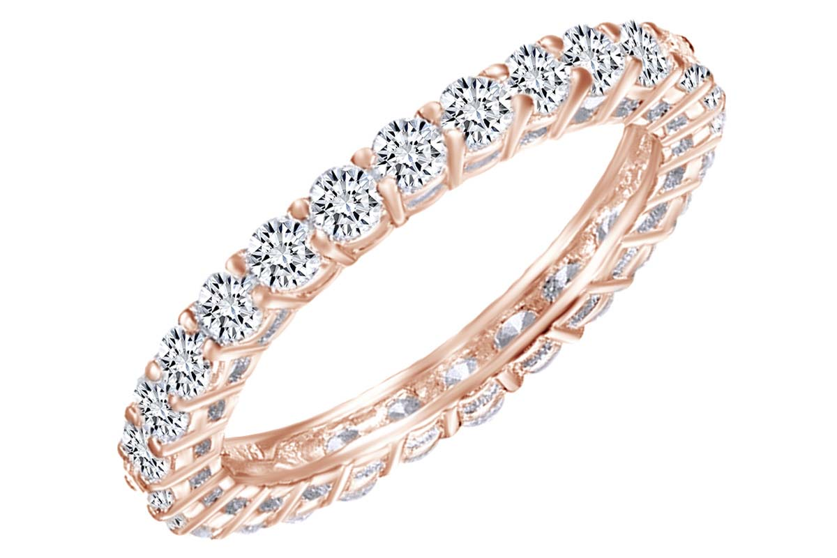 14K Rose Solid Gold 1.5MM CZ Half Eternity Womens Wedding Band IG-01-200-1392 Ioka