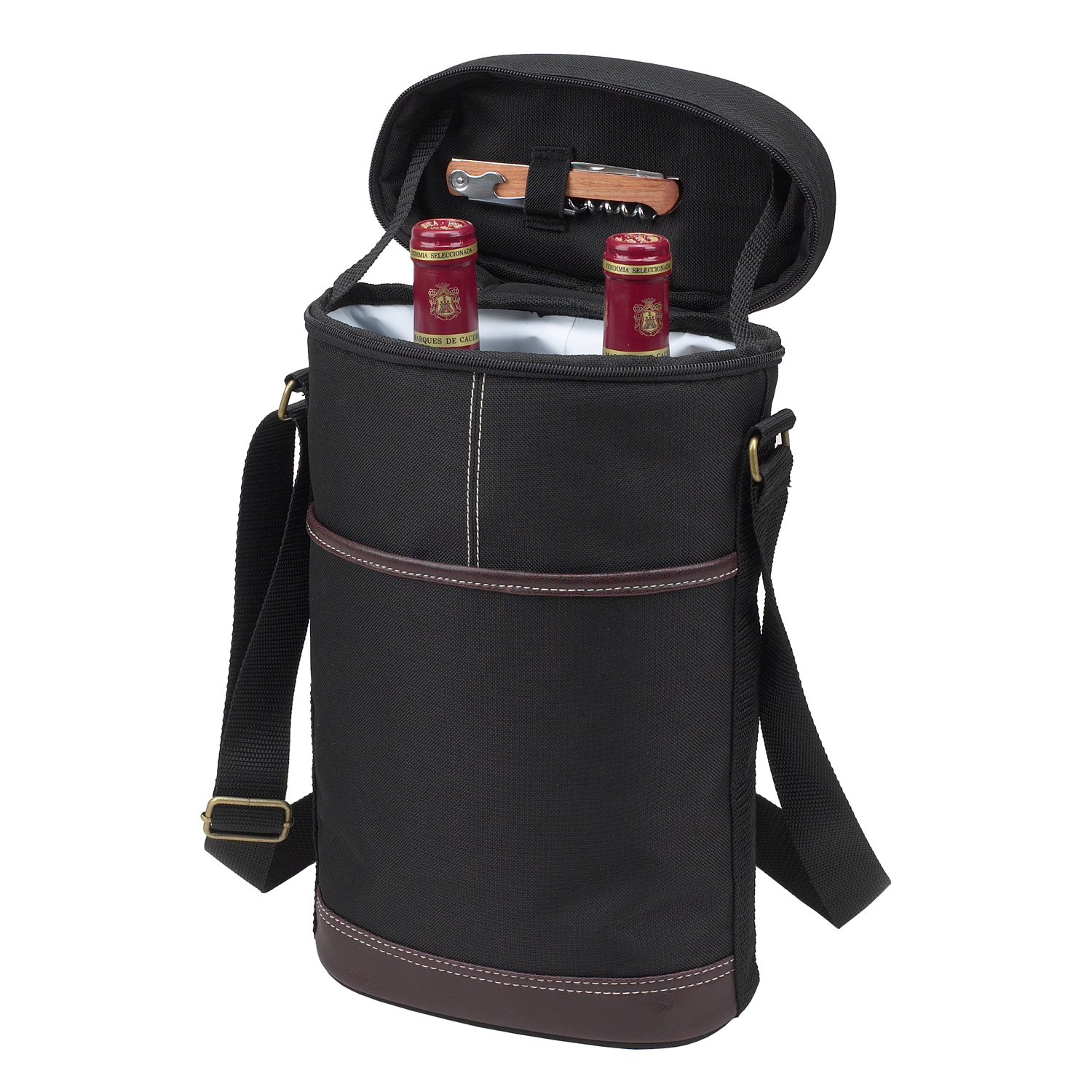 Picnic At Ascot Two Bottle Carrier in Black