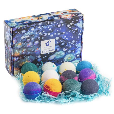 - SWAN ☆STAR Bath Bombs  with Organic Coconut Oil Individually Wrapped Perfect for Bubble & Spa Bath  Pack of 12