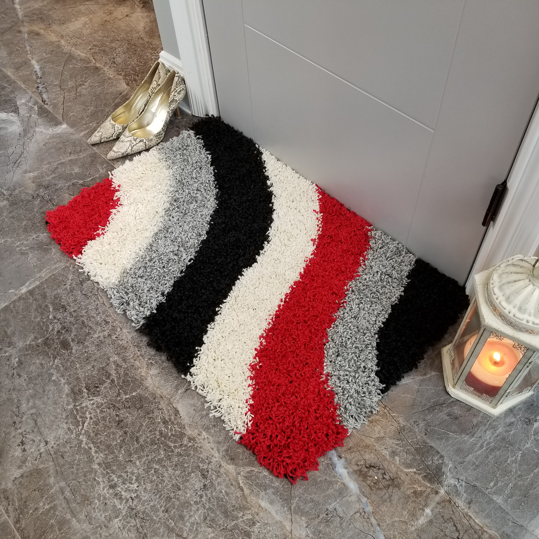 Maxy Home Bella Striped Multicolor 1 ft. 8 in. x 2 ft. 7 in. Shag Door Mat