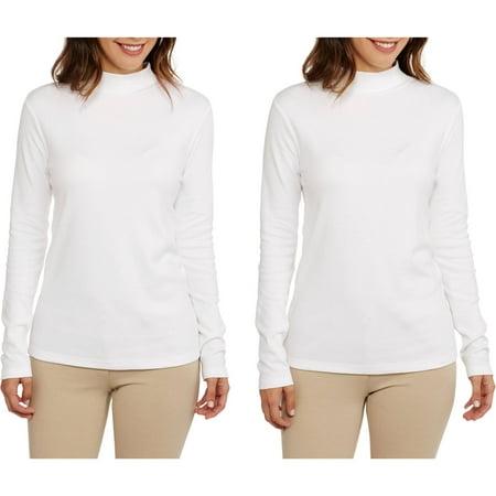 Women's Basic Long Sleeve Mockneck T-Shirt, 2 pack Value Bundle