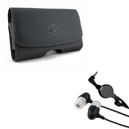 Black Leather Side Case w Retractable Headset Hands-free Earphones w Mic K4W for LG V35 ThinQ, X Charge, G7 ThinQ, G Stylo, 4 Plus 3 2 V Plus - Motorola Moto X Pure Edition Z2 Play, G4