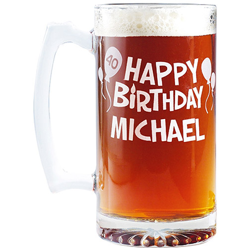 "Personalized ""Happy Birthday"" Giant Beer Mug, 25 oz"