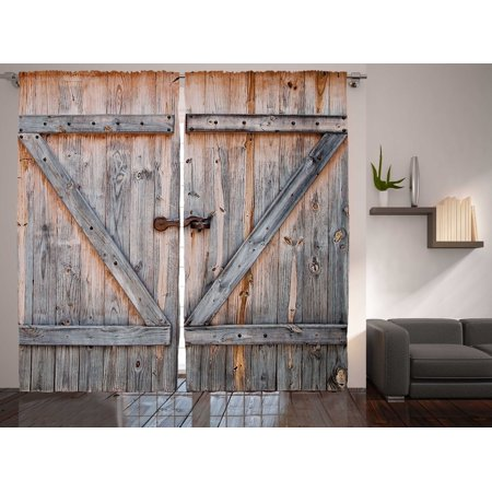 Rustic Decor Collection Wooden Door American Country Style Curtain 2 Panel - Country Collection