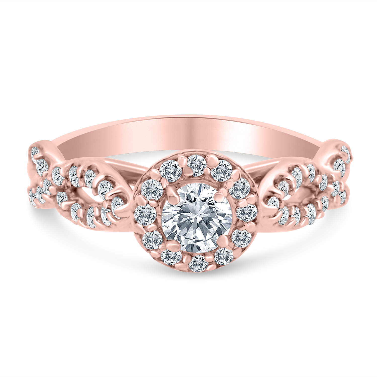 3/4ctw Diamond Infinity Engagement Ring in 10k  Rose Gold