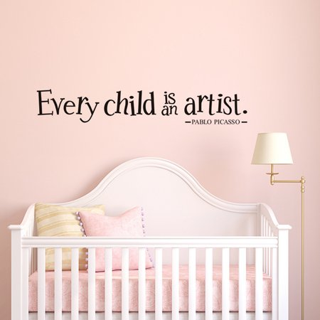 Every child is an artist Quotes Wall Sticker Waterproof Inspirational Letters Sticker Wall Decals Wall Decor Sticker for Baby Toddler Kids Child Teens Bedroom Kindergarten Primary School