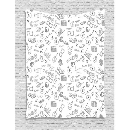 Money Tapestry  Monochrome Pattern With Euro Dollar Yen Symbols Coins Piggy Bank Stock Graphs Doodle  Wall Hanging For Bedroom Living Room Dorm Decor  40W X 60L Inches  Black White  By Ambesonne