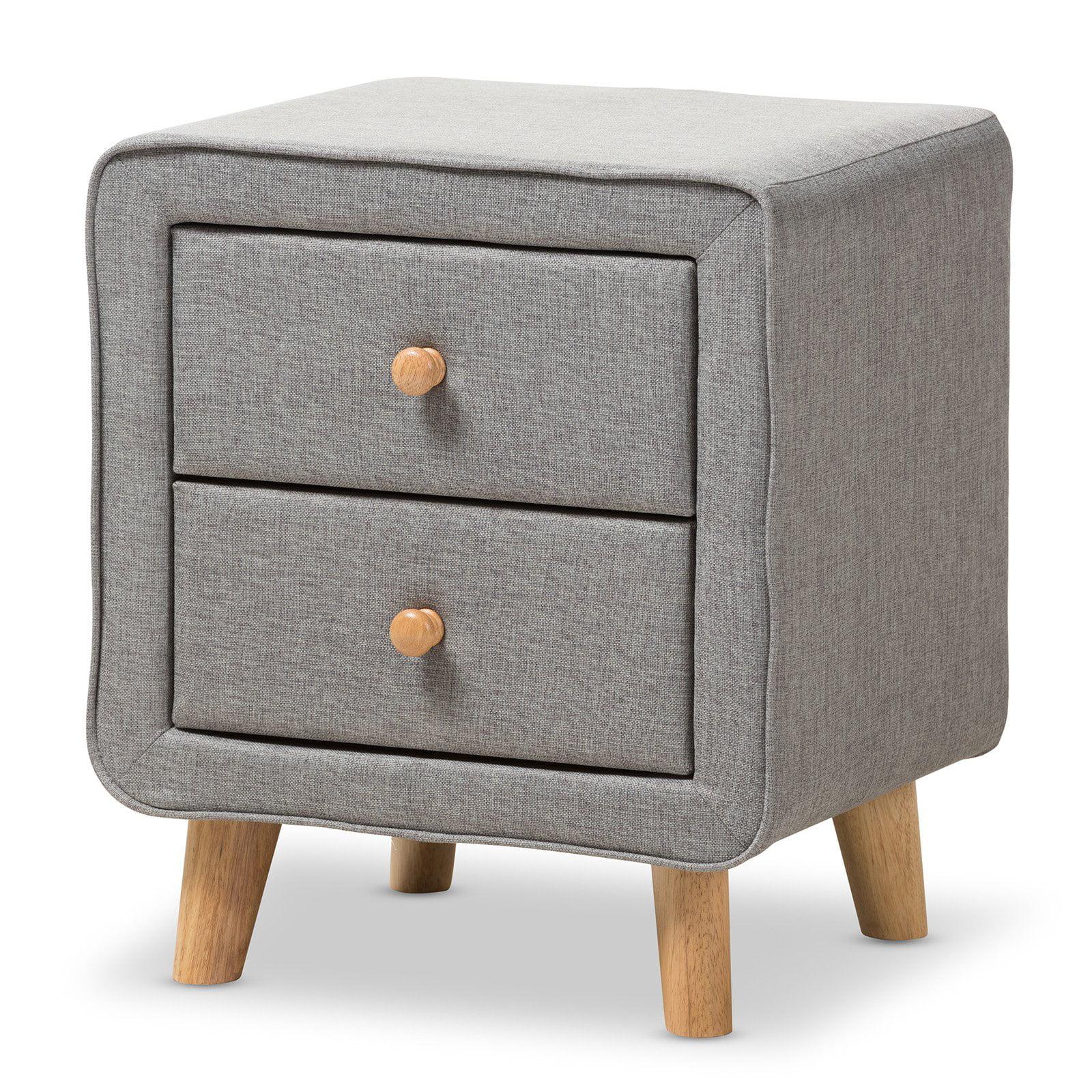 Baxton Studio Jonesy Mid-Century Grey Fabric Upholstered 2-Drawer Nightstand