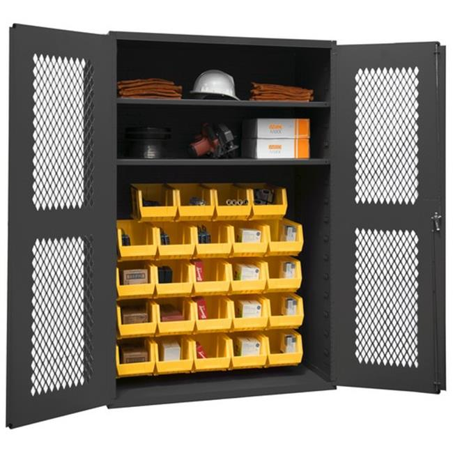 14 Gauge Flush Door Style Lockable Clearview Cabinet with 24 Yellow Hook on Bins & 2 Adjustable Shelves, Gray - 48 in.