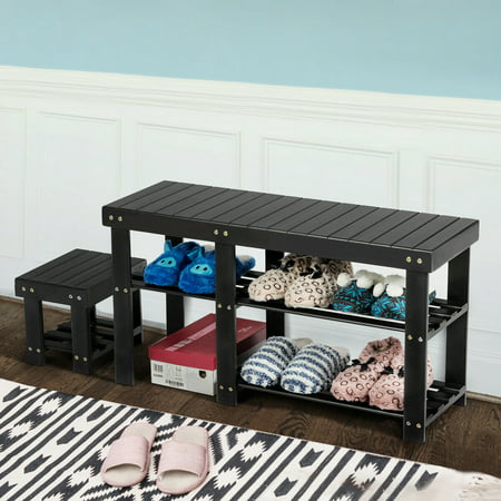 Costway Bamboo Shoe Rack Bench with Stool Entryway 3 Tier Storage Organizer Black - image 6 of 10