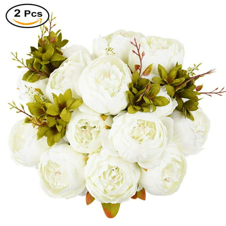Vintage Wedding Flowers (2 Pcs Vintage Artificial Peony Silk Flowers Bridal Bouquet Home Wedding Decoration Flowers Bunch Hotel Party Garden Floral Decor (White, 2)