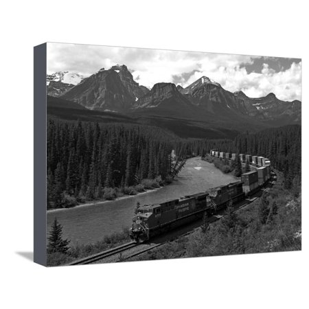 Morants Curve, Bow River, Canadian Pacific Railway, Near Lake Louise, Banff National Park, UNESCO W Stretched Canvas Print Wall Art By Hans Peter Merten