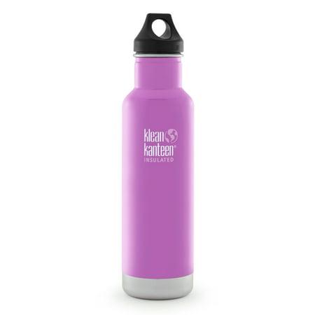 Klean Kanteen Stainless Steel 20oz Classic Vacuum Insulated Water Bottle in Meadow Flower with Black Loop Cap
