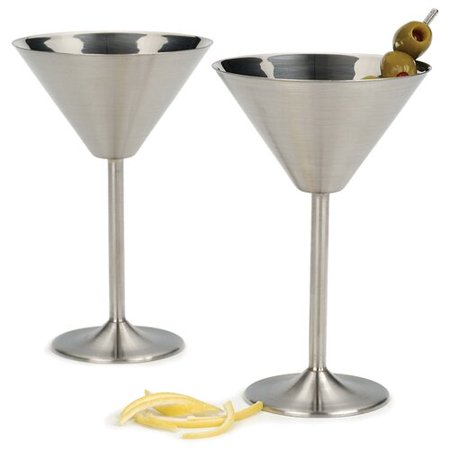 Ebern Designs Schurman 8 oz. Stainless Steel Martini Glass (Set of 2) - 2 Oz Martini Glasses
