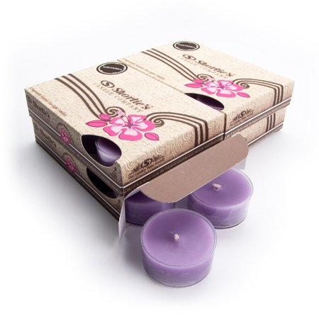 Pure Wisteria Tealight Candles Bulk Pack (24 Purple Highly Scented Tea Lights) - Made With Essential & Natural Oils - Clear Cup for Beautiful Candlelight - Flower & Floral Collection