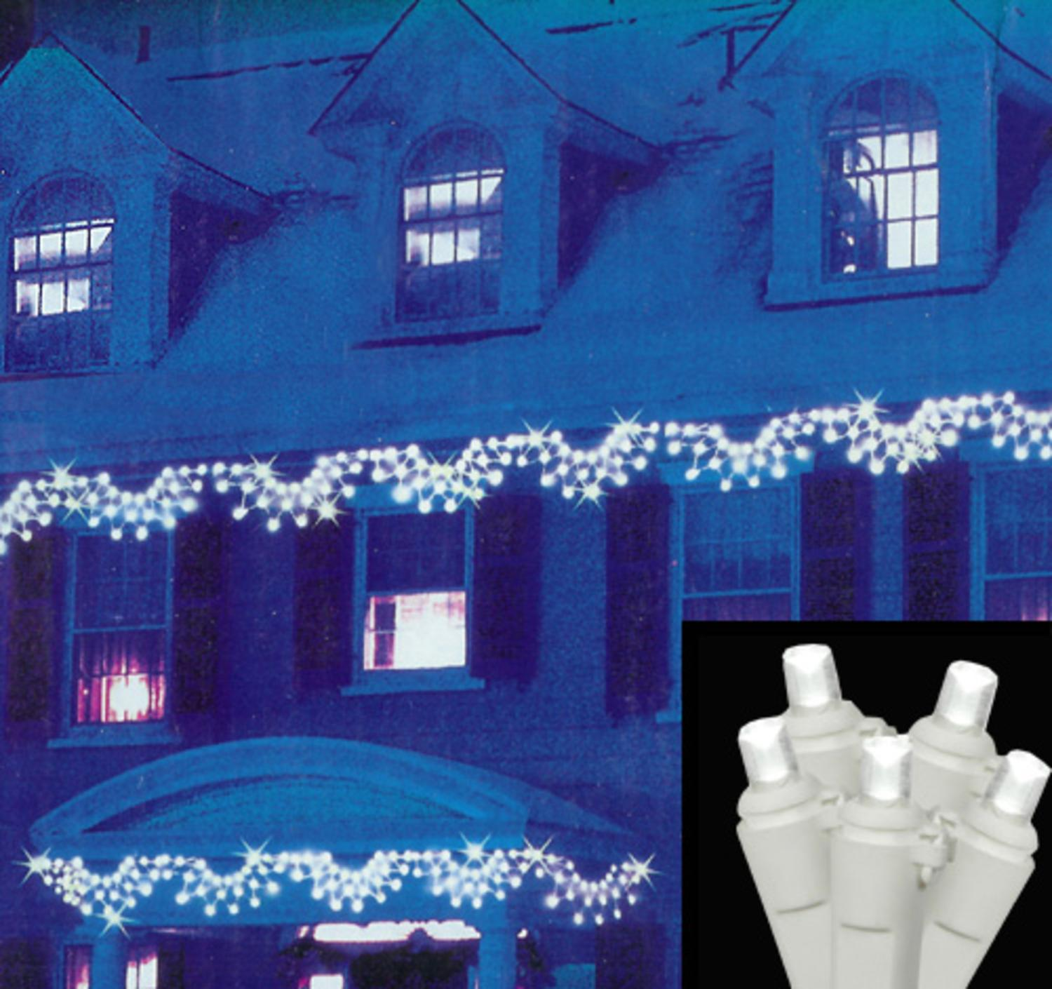 Set of 150 Pure White LED Wide Angle Swag Christmas Lights - White Wire