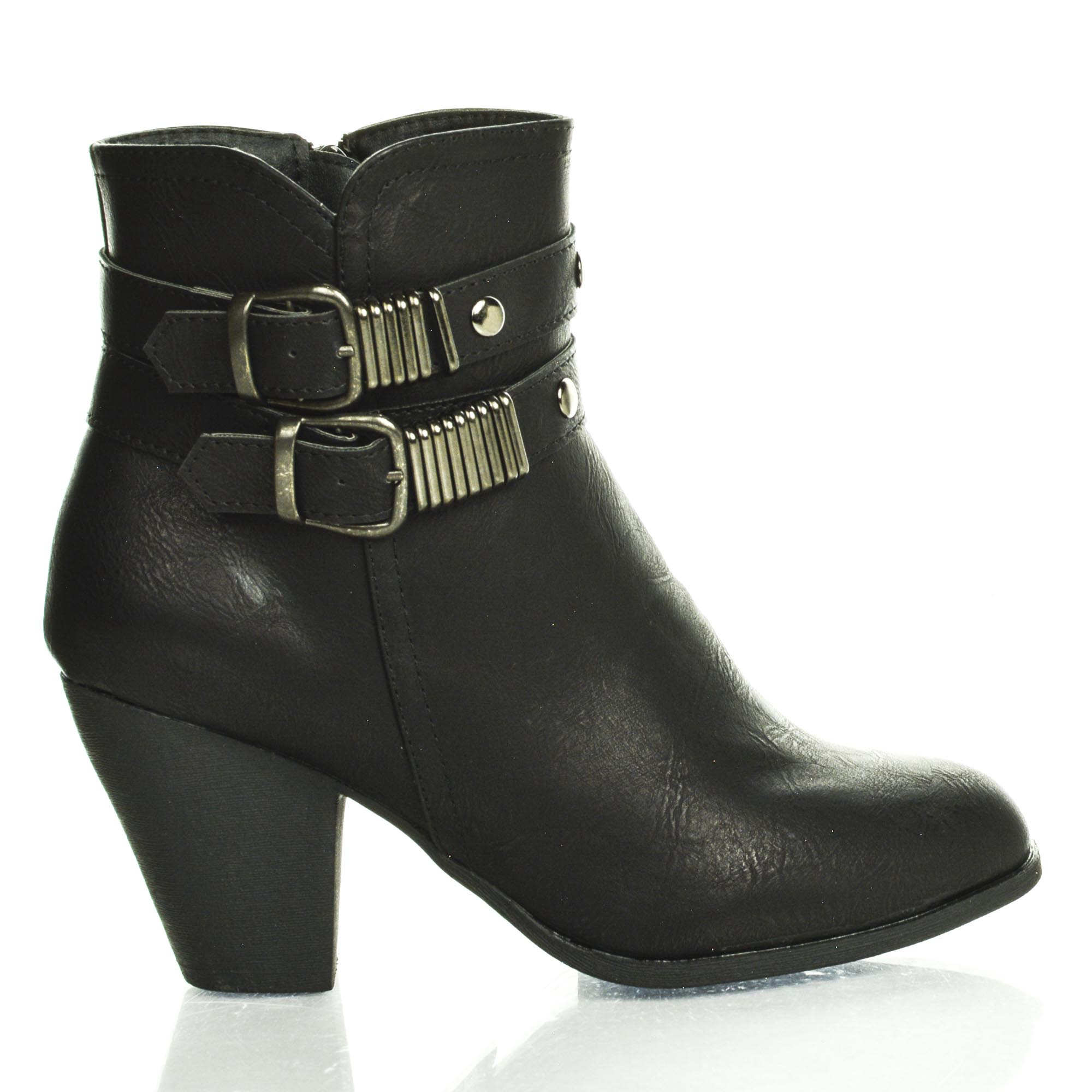 Raven1D by DbDk, Almond Toe Double Antique Buckle Zip Up Block Heel Ankle Boots