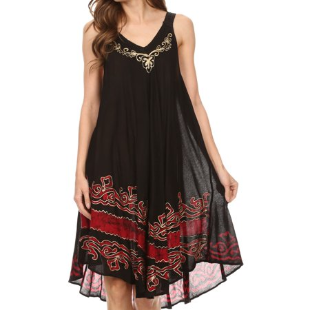 Sakkas Gasha Sleeveless Mid Length Caftan Dress With Embroidery Details And V Neck - Black / Red - One Size Regular](Mid Length Petticoat)