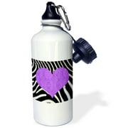 3dRose Punk Rockabilly Zebra Animal Stripe Purple Heart Print, Sports Water Bottle, 21oz