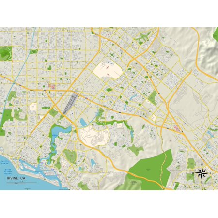 Political Map of Irvine, CA Print Wall Art