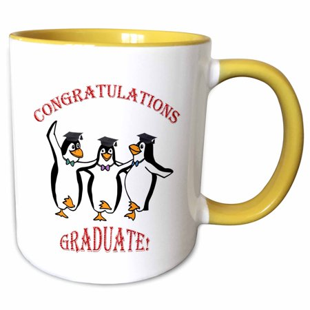 Happy Dancing Penguin (3dRose Graduation happy penguins dancing - Two Tone Yellow Mug, 11-ounce )