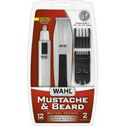 4 Pack - Wahl Mustache & Beard Battery Trimmer Kit with Bonus Nose Trimmer 1 ea