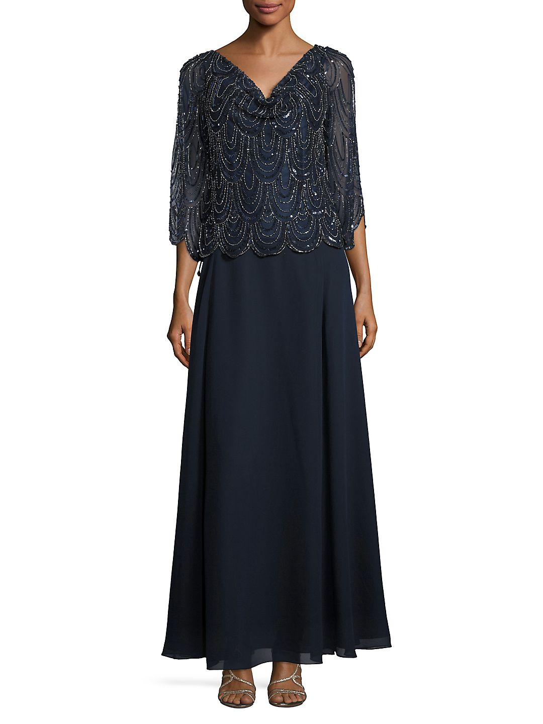 Petite Sequined Popover Gown