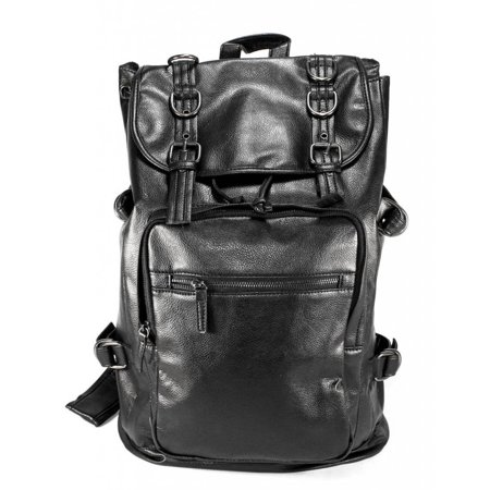 Synthetic Soft Leather Backpack School Bag (Large, Black-For Men) (Leather Backpack For Men)