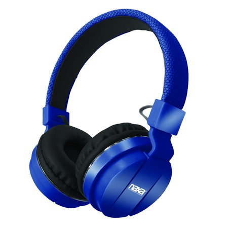 naxa bluetooth wireless stereo headphones with microphone blue. Black Bedroom Furniture Sets. Home Design Ideas