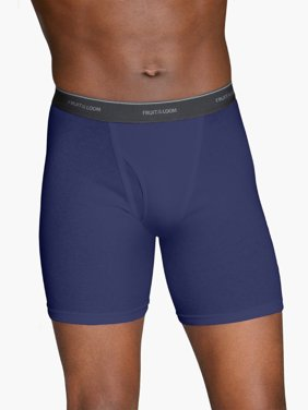 Fruit of the Loom Men's CoolZone Fly Argyle and Solid Boxer Briefs, Extended Sizes, 4 Pack