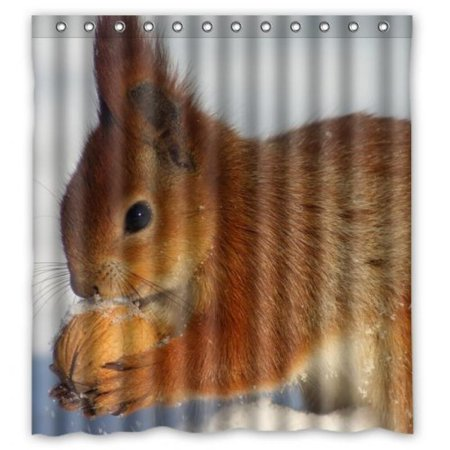 hot sale Squirrels eat walnuts in the snow PEVA Shower Curtain ...