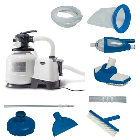 Intex 2800 GPH Above Ground Pool Sand Filter Pump w/ Deluxe Pool Maintenance Kit