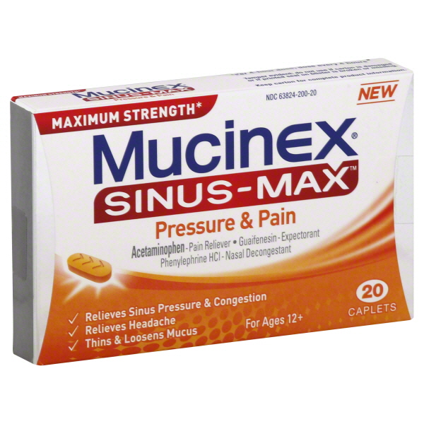 Mucinex Sinus-Max Pressure and Pain Caplets, 20 Count