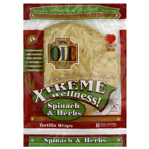 Ole Mexican Xtreme Wellness Spinach and Herbs Tortilla Wraps, 12.7 oz (Pack of 6)