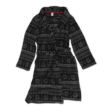 Sleep Chic - Womens Plush Black   White Snowflake Bathrobe Nordic Print  Bath Robe - Walmart.com a4e88905b