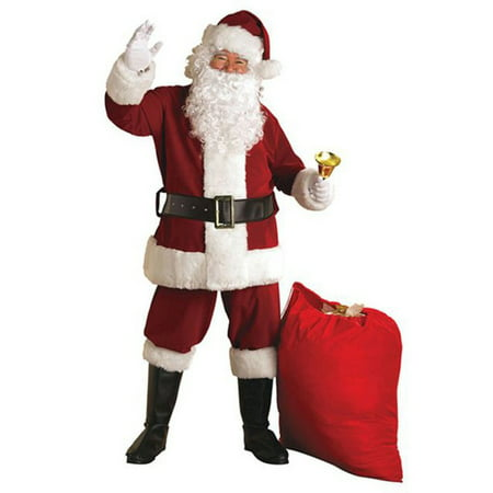 Santa Crimson Regal Plush Suit with Faux Fur Trim