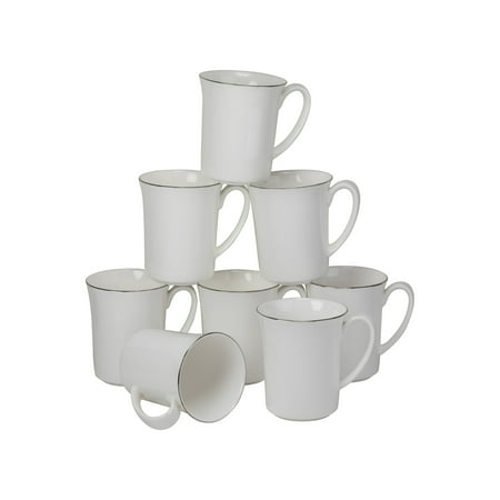 10 Strawberry Street Bone China with Silver Band 16 Oz Mugs, Set of 8 ()