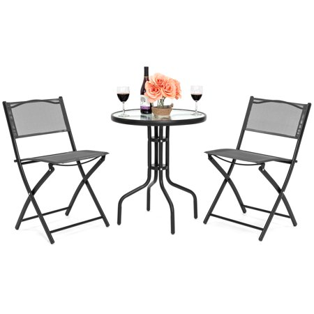 Best Choice Products 3-Piece Patio Bistro Dining Furniture Set w/ Round Textured Glass Tabletop, 2 Folding Chairs, Steel Frame, Gray ()