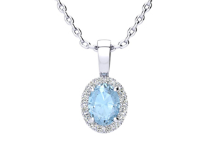 0.90 Carat Oval Shape Aquamarine and Halo Diamond Necklace In 14 Karat White Gold With 18 Inch Chain by Overstock