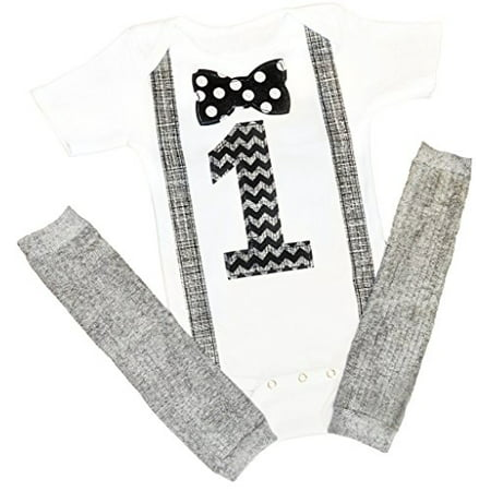 Baby Boy 1st Birthday Outfit (First Baby Boys Birthday Onesie Outfit Set Bow Tie Shirt Suspenders 12-18 Months 1)