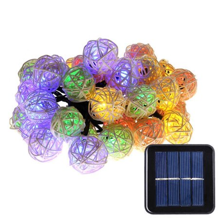 Luckled Outdoor Indoor Solar String Lights Rattan Ball Decorative Lighting For Home Garden Patio Deck  Multi Color