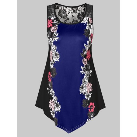 96af96a6256 Womens Tops Womens Summer Tops, Sexy Plus Size Lace Panel Floral Tank Top
