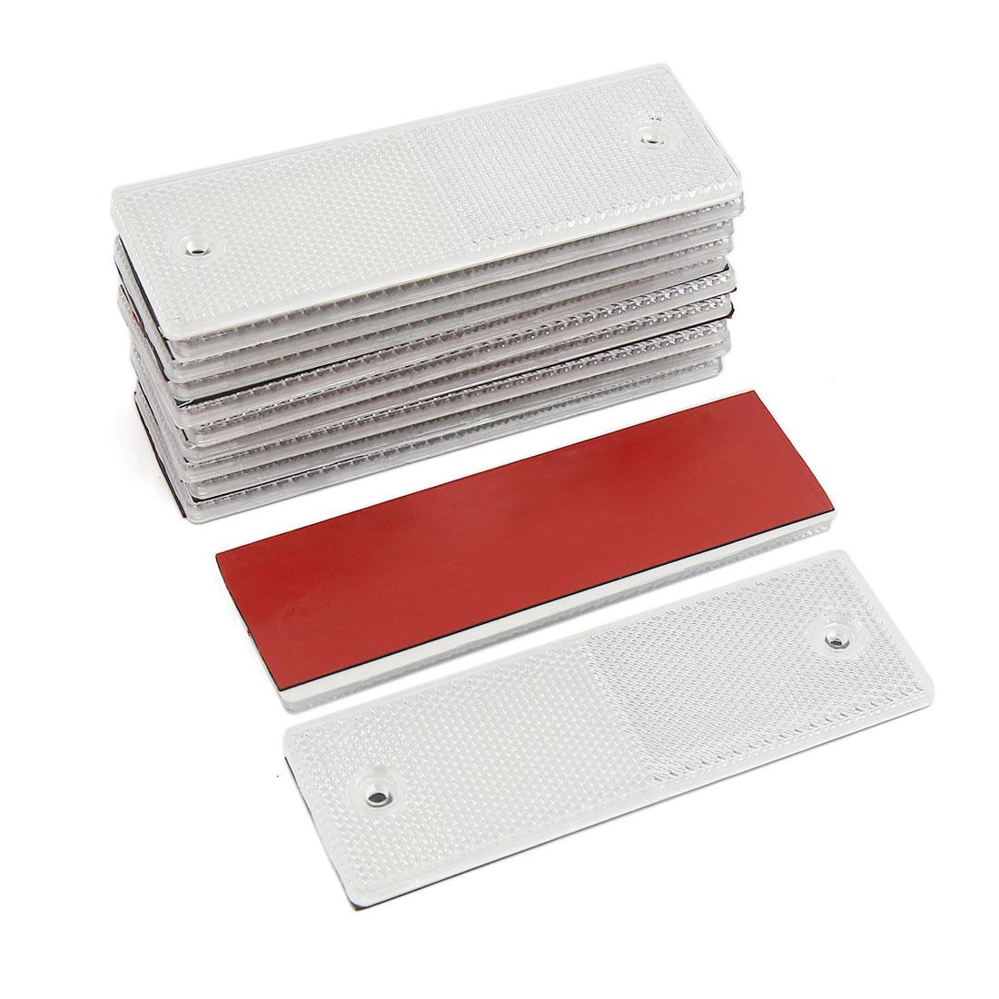 Unique Bargains Universal Trailer Car White Reflective Warning Plate Adhesive Reflector 12PCS