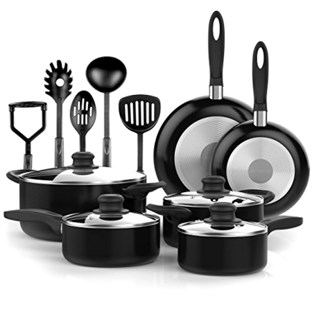 Complete 15pc Cookware Set Glass Tops Nonstick Oven Safe w/5pc Cooking